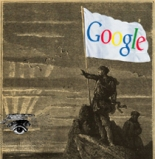 white flag by Jan Jacobsen, all other parts of the image (except the Google logo) are from the public domain. combined by the Luddbrarian.