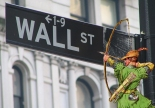 Wall St. sign pic by RMajouji (wikipedia), Robin Hood added by the Luddbrarian